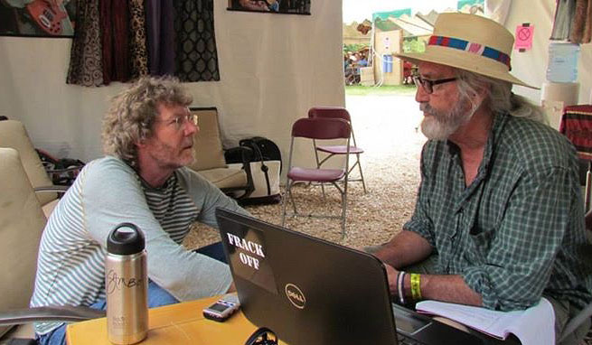 Dale McCurry interviewing Sam Bush at RockyGrass July 2016.