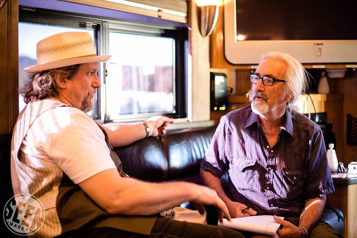 Dale McCurry interviewing Jerry on his bus at the 2014 Yonder Mountain Festival on Mulberry Mountain, Arkansas. | Photo by Mollie Hull Photography