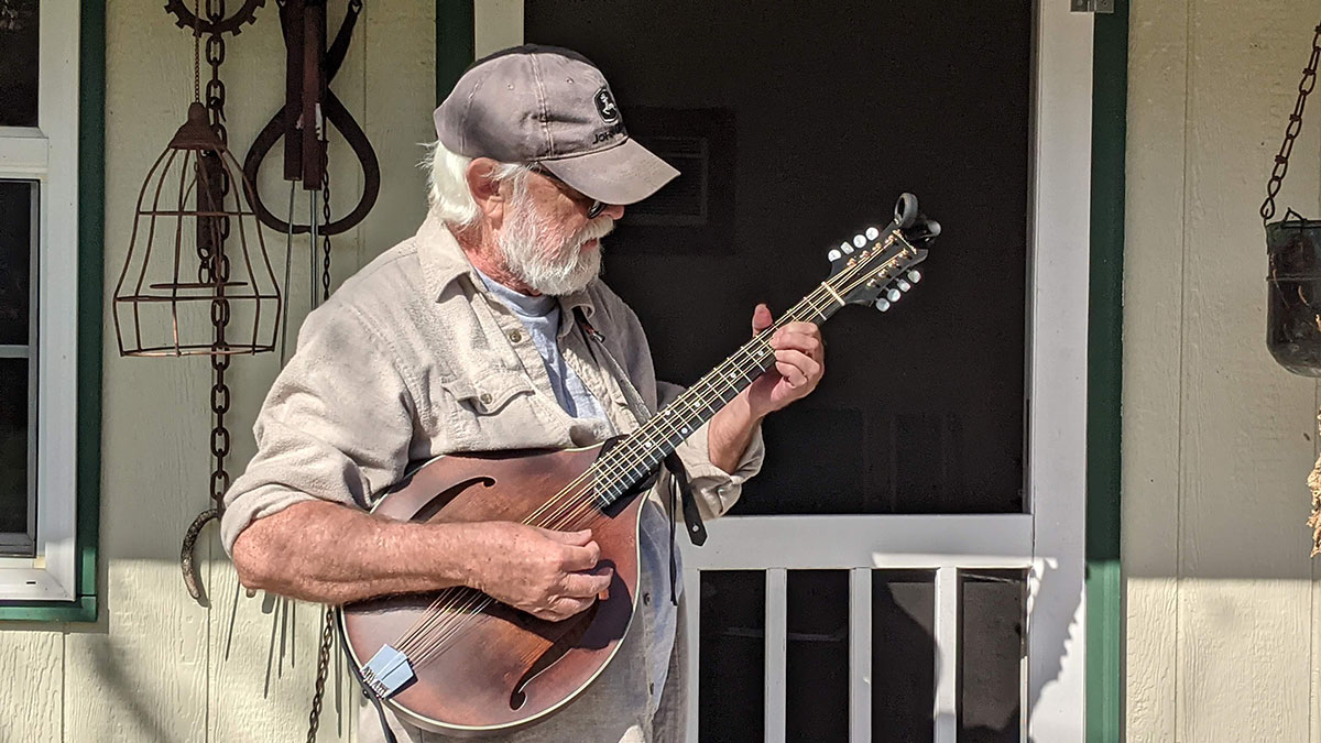 Larry Lee with his octave mandolin