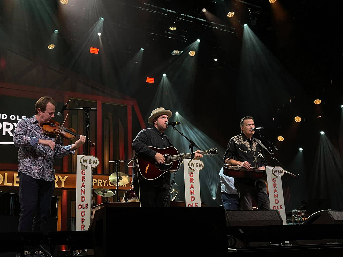 Stuart Duncan, Trey Hensley, and Rob Ickes at the Grand Ole Opry June 5, 2021